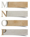 Alphabet letters recycled paper craft Stock Photos