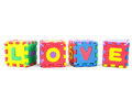 Alphabet love learning blocks on white background Royalty Free Stock Photo
