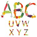 Alphabet made of fruits and vegetables