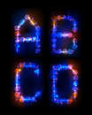 Alphabet made of neon bubbles Royalty Free Stock Photography