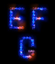 Alphabet made of neon bubbles Stock Images