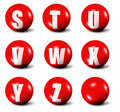 Alphabet made of red 3D spheres Royalty Free Stock Photos