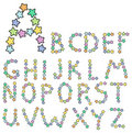 Alphabet from multicolored stars Stock Photography