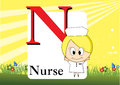 Alphabet n illustration of with nurse Royalty Free Stock Photo