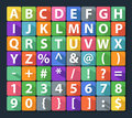 Alphabet and number flat icon set illustration Royalty Free Stock Images