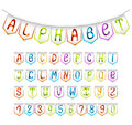 Alphabet and numbers' bunting flags Stock Images
