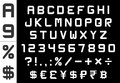 Alphabet, numbers, currency and symbols pack - rectangular basic font