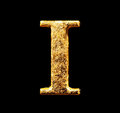 Alphabet and numbers in gold leaf Royalty Free Stock Photo