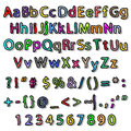 Alphabet and numbers illustration of colorful alphabets on a white background Royalty Free Stock Photos