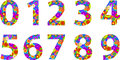 Alphabet numbers with retro disco circles texture vector illustration Royalty Free Stock Photo