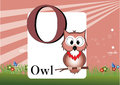 Alphabet o illustration of isolated with owl Royalty Free Stock Photo