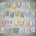 Alphabet on old paper Stock Image