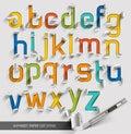 Alphabet paper cut colorful font style.