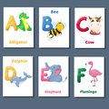 Alphabet printable flashcards vector collection with letter A B C D E F. Zoo animals for english language education. Royalty Free Stock Photo