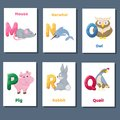 Alphabet printable flashcards vector collection with letter M N O P Q R. Zoo animals for english language education. Royalty Free Stock Photo