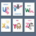Alphabet printable flashcards vector collection with letter U V W X Y Z. Zoo animals for english language education. Royalty Free Stock Photo