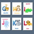 Alphabet printable flashcards vector collection with letter G H I J K L. Zoo animals for english language education. Royalty Free Stock Photo