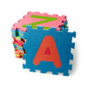 Alphabet  puzzle pieces on background Royalty Free Stock Photo
