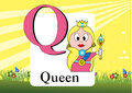 Alphabet q illustration of isolated with queen Stock Images