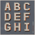 Alphabet retro colour style vector illustration Royalty Free Stock Photos