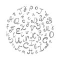 Hand Drawn Doodle Font. Children Drawings of Black Scribble Alphabet Arranged in a Circle