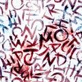 Alphabet seamless pattern.  Red universe Royalty Free Stock Photo