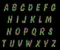 Alphabet set of colorful dots letters on black Royalty Free Stock Photo