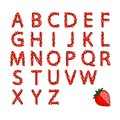Alphabet set made from strawberry for your design this is file of eps format Royalty Free Stock Photography