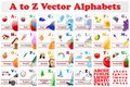 Alphabet set vector illustration of with picture Royalty Free Stock Photo
