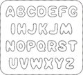 Alphabet with sewn with thread edge set of uncoloured letters Royalty Free Stock Images