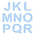 Alphabet from snowflakes letters j k l m n o p q r Royalty Free Stock Images