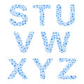 Alphabet from snowflakes letters s t u v w x y z Stock Photo