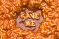 Alphabet soup - save me Royalty Free Stock Photo