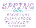 Alphabet in spring style with flowers. Vector colorful letters. Hand drawn font Royalty Free Stock Photo