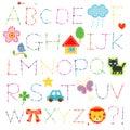 Alphabet stitch and cute appliques Stock Photo