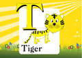 Alphabet t illustration of isolated with tiger Royalty Free Stock Image