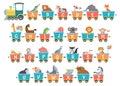 Alphabet train with animals. Cartoon animal illustration in van Royalty Free Stock Photo