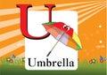 Alphabet u illustration of isolated with umbrella Stock Photos