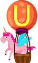Alphabet u for unicorn illustration of isolated on white Stock Photography