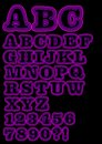 Alphabet uppercase neon set in purple, including numbers Royalty Free Stock Photo