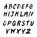 Alphabet written with a brush