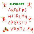 Alphabet written with red chili peppers Stock Images