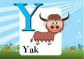 Alphabet y illustration of isolated with yak Stock Photo