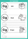 Alphabet a-z exercise with cartoon vocabulary for coloring book