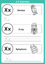 Alphabet a z exercise with cartoon vocabulary for coloring book illustration vector Stock Photography