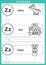 Alphabet a z exercise with cartoon vocabulary for coloring book illustration vector Stock Images