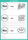 Alphabet a z exercise with cartoon vocabulary for coloring book illustration vector Royalty Free Stock Images