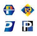 Alphabetical logo design concepts letter p Stock Image