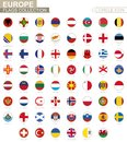Alphabetically sorted circle flags of Europe. Set of round flags Royalty Free Stock Photo