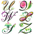 Alphabets elements design -  series U to Z Stock Photo